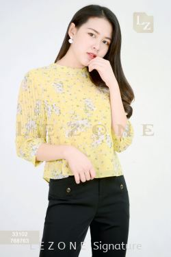 33102 CHIFFON FLORAL SLEEVE BLOUSE 【1ST 10% 2ND 15% 3RD 20%】