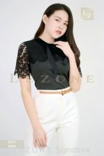 6571 SLEEVE LACE CONTRAST BLOUSE