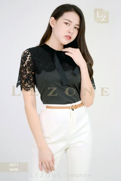 6571 SLEEVE LACE CONTRAST BLOUSE��2ND 50%��