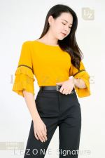 2018257 PLUS SZIE PLEATED SLEEVE BLOUSE