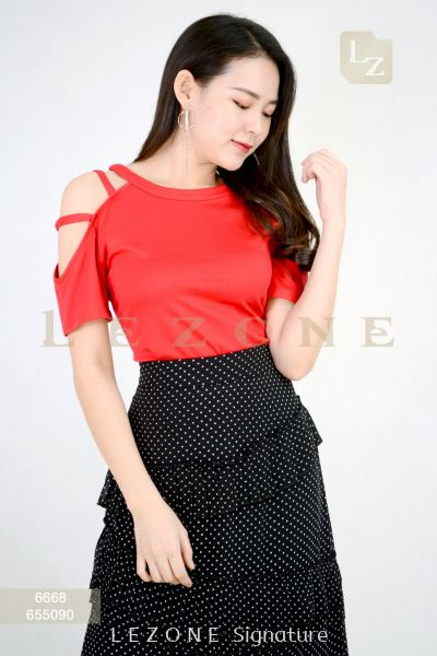 6668 Cut Off Shoulder Blouse