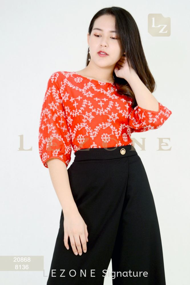 20868 PLUS SIZE EMBROIDERED SLEEVE BLOUSE 【2ND 50%】