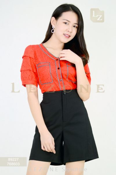 89227 MESH LACE SLEEVE BLOUSE