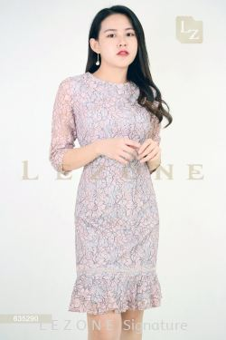 635290 PLUS SIZE LACE OVERLAY SLEEVE DRESS【1ST 10% 2ND 15% 3RD 20%】