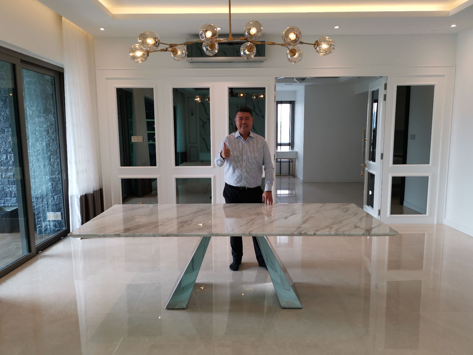 White Marble Dining Table From Greece - Volakas Marble