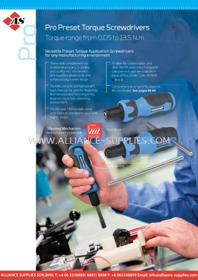Pro Preset Torque Screwdrivers - Torque Range from 0.05 to 13.5 N.m
