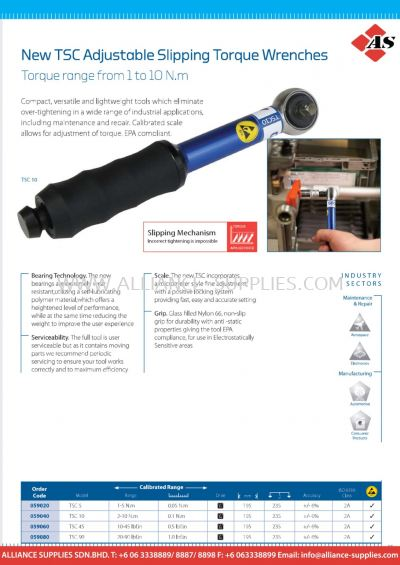 New TSC Adjustable Slipping Torque Wrenches - Torque Range from 1 to 10 N.m