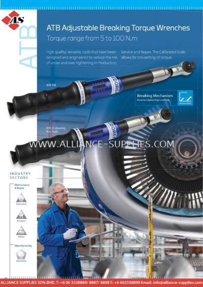 ATB Adjustable Breaking Torque Wrenches - Torque Range from 5 to 100 N.m