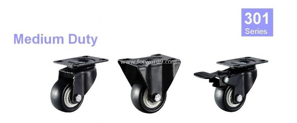 301 Series Top Plate Black Polyurethane Castor Wheel