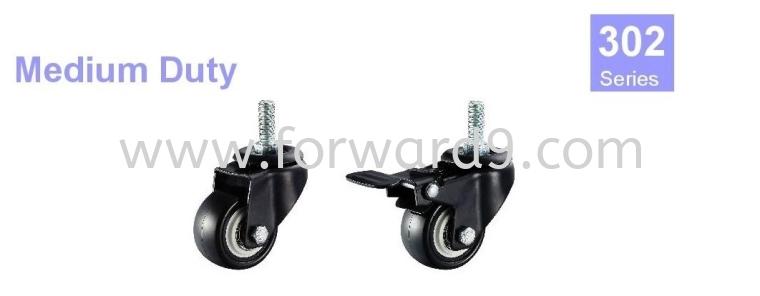 302 Series Thread Stem Black Polyurethane Wheel Medium Duty Castor  Castors Wheel