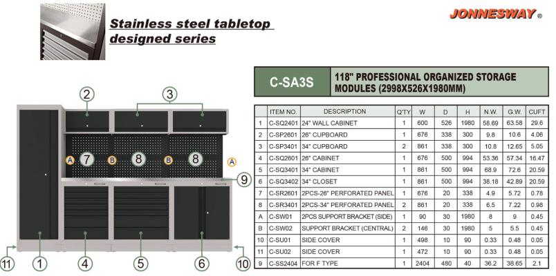 "76"" PROFESSIONAL ORGANIZED STORAGE MODULES (2998X526X1980MM) P/N: C-SA3S"