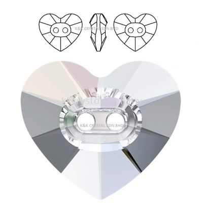 SWAROVSKI, HEART CRYSTAL BUTTON, 3023#, 12*10.5MM/14*12MM, 001AB