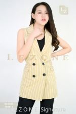 840335 STRIPED SLEEVELESS JACKET