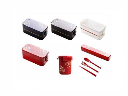 2-Tier Japanese Bento Box with Cutlery