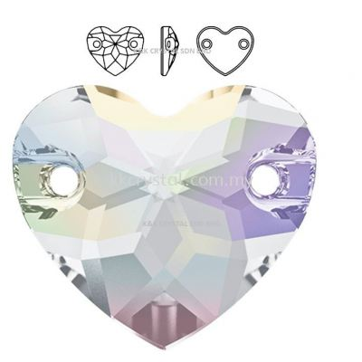 SWAROVSKI, HEART SEW-ON STONE, 3259#, 12MM/16MM, 001AB