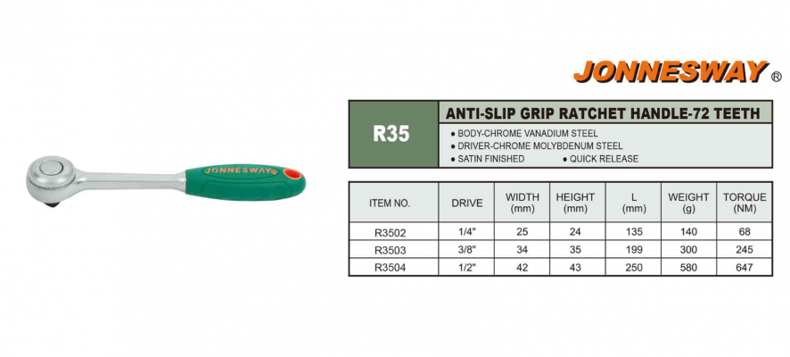 ANTI-SLIP GRIP RATCHET HANDLE 72 - TEETH P/N: R35