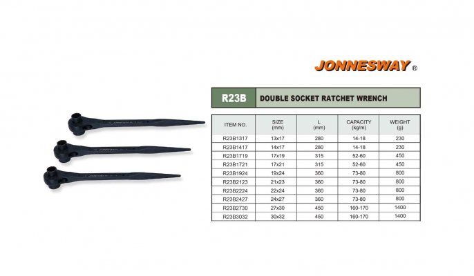 DOUBLE SOCKET RATCHET WRENCH P/N: R23B