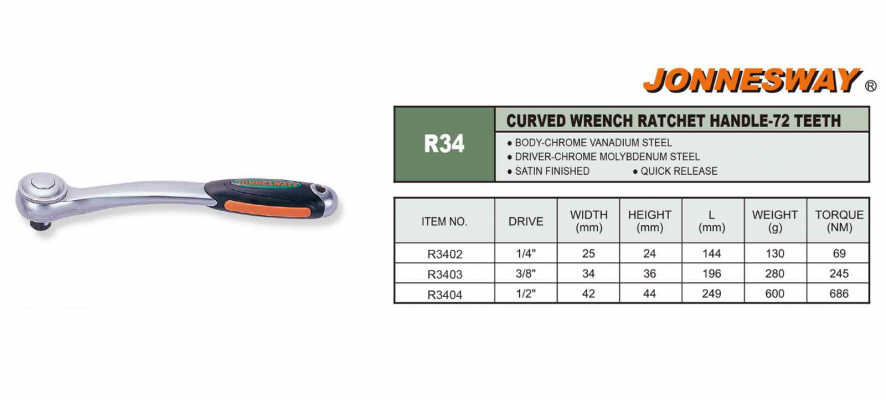 CURVED WRENCH RATCHET HANDLE 72 - TEETH P/N: R34