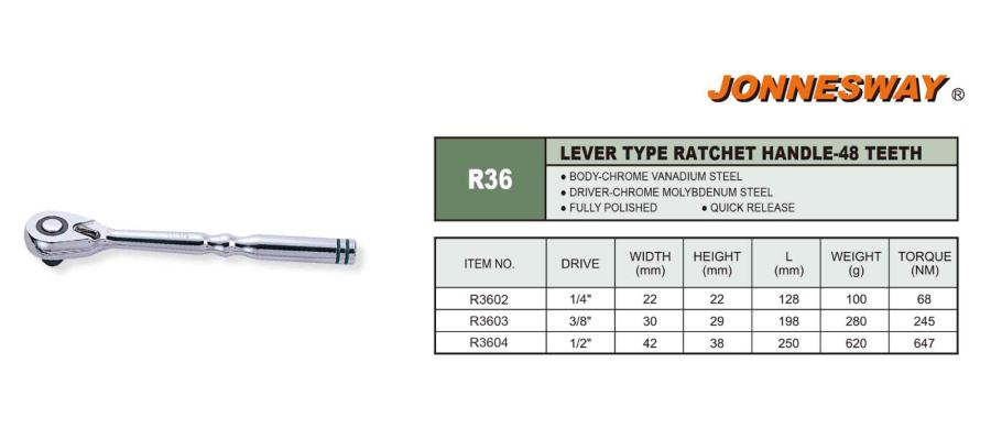 LEVER TYPE RATCHET HANDLE 48 - TEETH P/N: R36