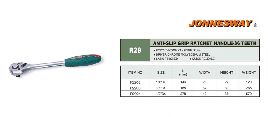 ANTI-SLIP GRIP RATCHET HANDLE 36 - TEETH P/N: R29