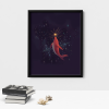 Red Whale Wall Decor Poster