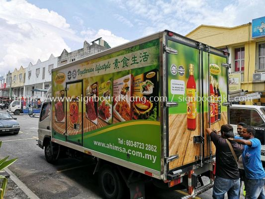 Ahimsa Lorry truck box inkjet sticker at klang