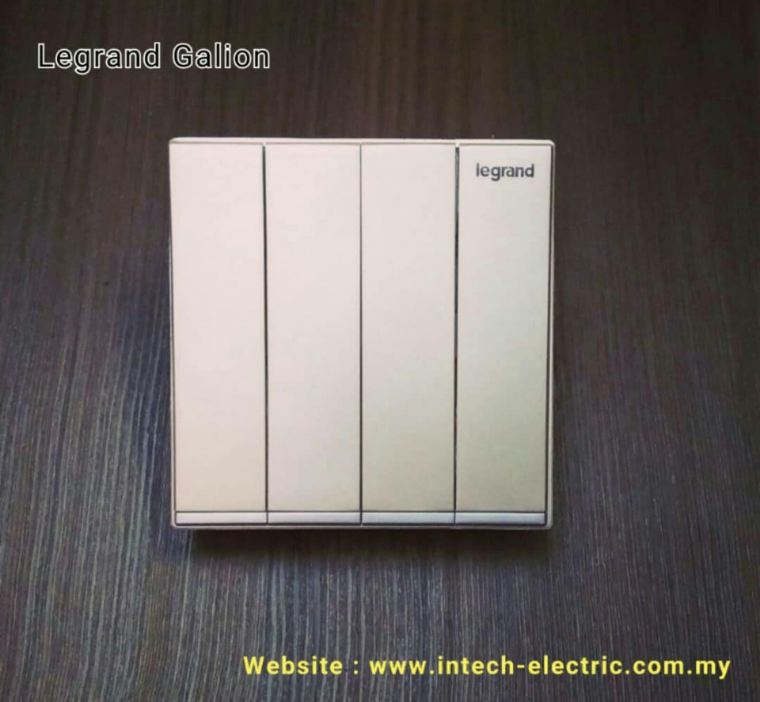 LEGRAND GALION 282406-C2 4GANG 1WAY SWITCH - CHAMPAGNE(SILVER BAR) Legrand Galion Series Switcher