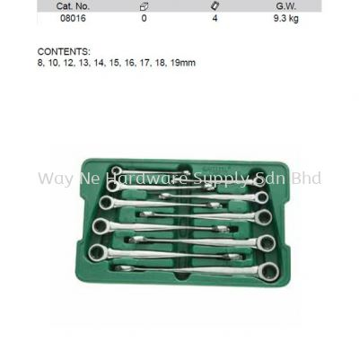 08016 - Pc Metric XL X Beam Ratcheting Combination Wrench Set