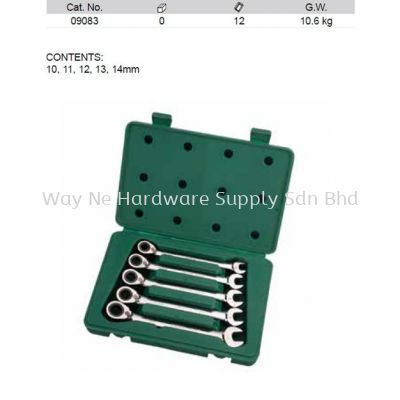 09083 - Pc Metric Reversible Combination Ratcheting Wrench Set