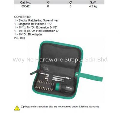 09342 - Pc Ratcheting Stubby Screwdriver Set