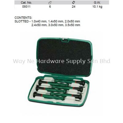 09311 - Pc Precision Slotted Screwdriver Set