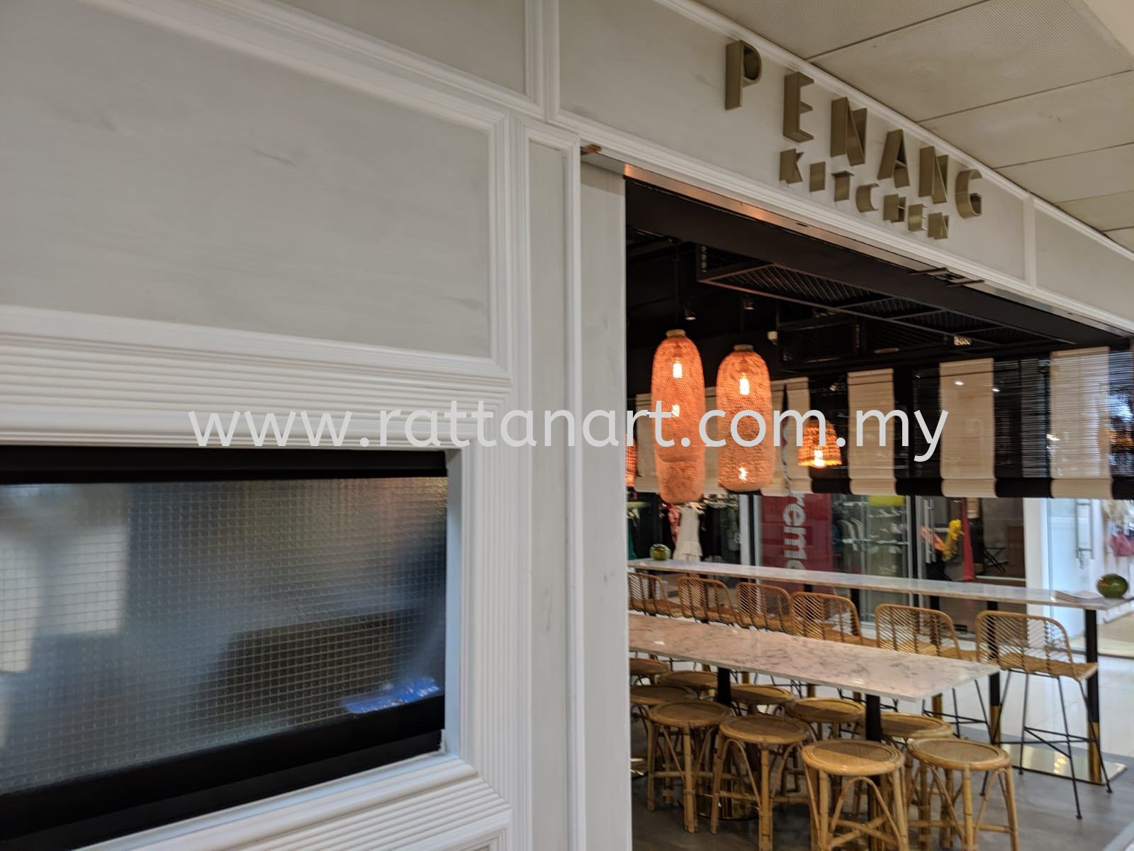 Made In Malaysia.  Production by Rattan Art.  Restaurant Name: Penang Kitchen