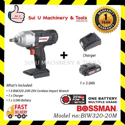 BOSSMAN BIW320-20M Cordless Impact Wrench 20V + 1 Charger + 1x 3.0Ah Battery