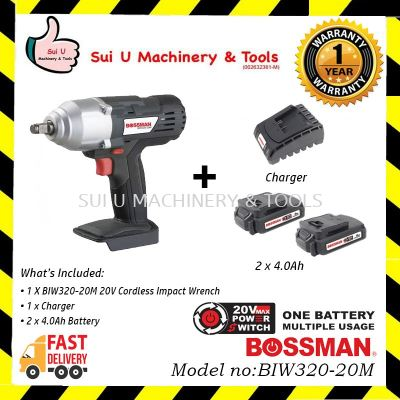 BOSSMAN BIW320-20M Cordless Impact Wrench 20V + 1 Charger + 2x 4.0Ah Battery