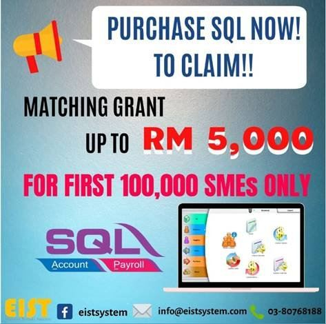 RM5,000.00 GOVERNEMENT'S GRANTS OPEN TO CLAIM WITH SQL ACCOUNT