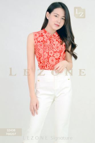 32438 FLORAL LACE SLEEVELESS BLOUSE【2ND 50%】
