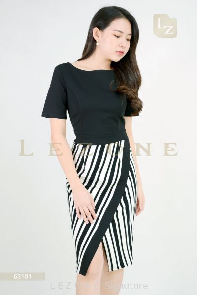 63101 Striped Wrap Dress