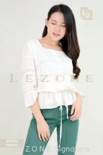 820349 SLEEVE LACE DETAIL BLOUSE 【1ST 10% 2ND 15% 3RD 20%】