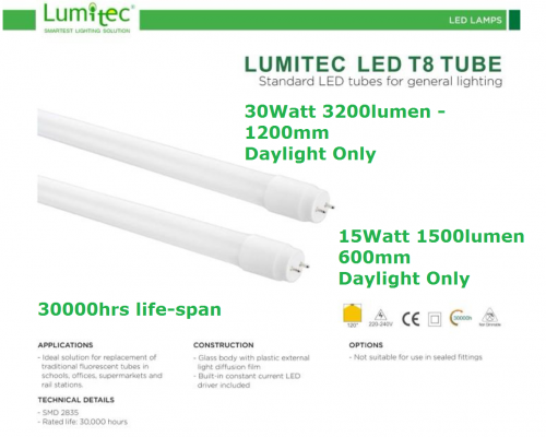LUMITEC LED T8 15W & 30W HIGH LUMEN TUBES DAYLIGHT