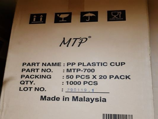 MTP PP CUP 22OZ (700ML) 1000PCS/CTN