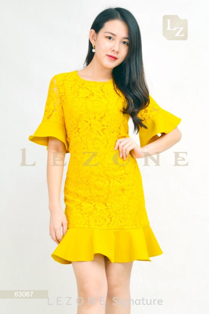 63067 LACE RUFFLE DRESS【1st 10% 2nd 20% 3rd 30%】