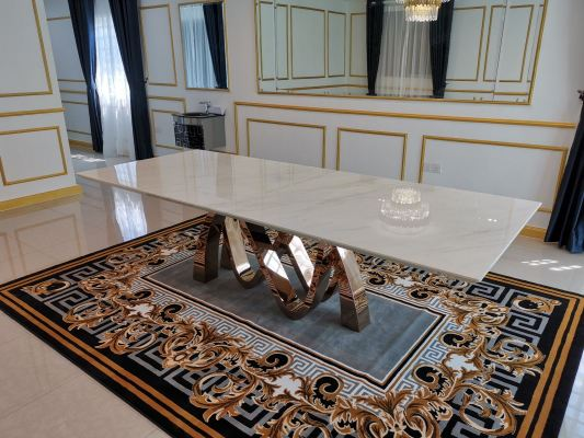 Modern Marble Dining Table - 10 Seater (Ariston White Marble)