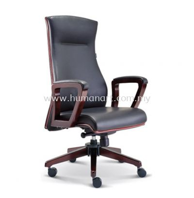BRAVO DIRECTOR HIGH BACK LEATHER CHAIR C/W WOODEN TRIMMING LINE