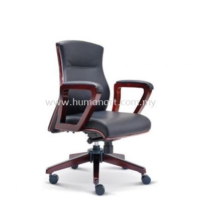 BRAVO DIRECTOR LOW BACK LEATHER CHAIR WITH WOODEN TRIMMING LINE