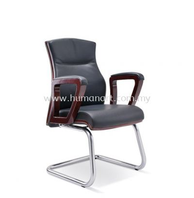 BRAVO DIRECTOR VISITOR LEATHER CHAIR WITH WOODEN TRIMMING LINE