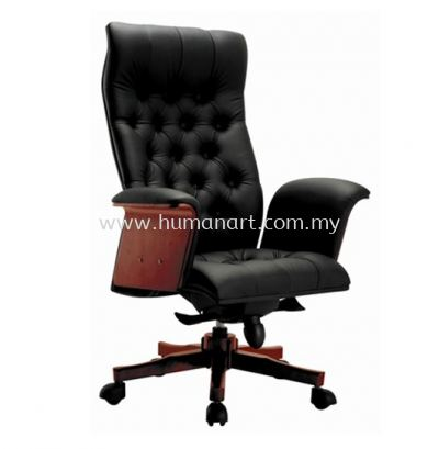 ARISAL DIRECTOR HIGH BACK LEATHER CHAIR WITH RUBBER-WOOD WOODEN BASE