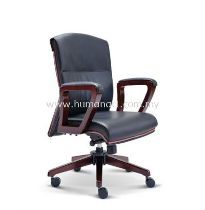 FLORA DIRECTOR LOW BACK LEATHER CHAIR WITH WOODEN TRIMMING LINE
