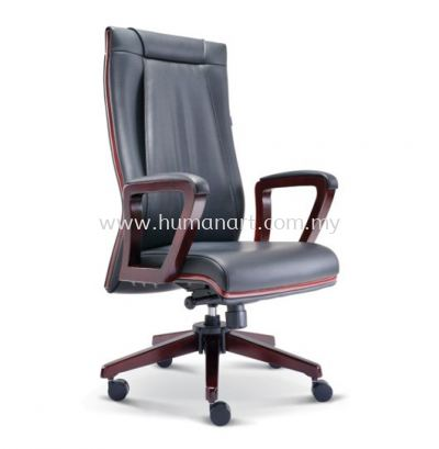 RIANA DIRECTOR HIGH BACK LEATHER CHAIR WITH RUBBER-WOOD WOODEN ROCKET BASE