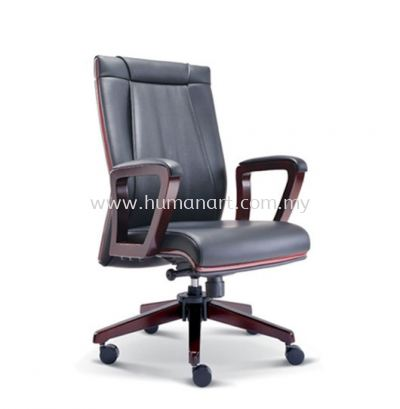 RIANA DIRECTOR MEDIUM BACK LEATHER CHAIR WITH RUBBER-WOOD WOODEN ROCKET BASE