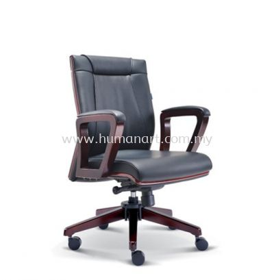 RIANA DIRECTOR LOW BACK LEATHER CHAIR WITH RUBBER-WOOD WOODEN ROCKET BASE